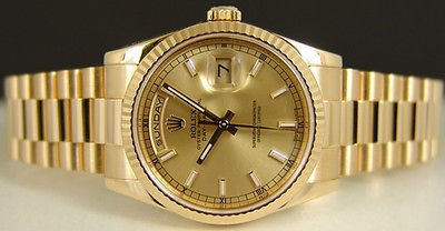 ROLEX Men 36mm 18kt Yellow Gold DayDate President Champagne 118238 SANT BLANC