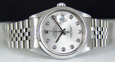 ROLEX - Mens Stainless Steel 36mm DATEJUST Silver Diamond Dial - 16200