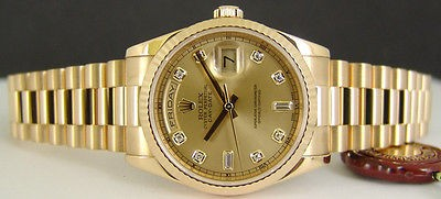 ROLEX - Mens Day-Date President 18kt Gold Champagne DIAMOND 118238 SANT BLANC