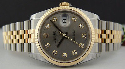 ROLEX - 18kt GOLD & Stainless Steel Mens 36mm DateJust Slate Grey DIAMOND - 116233