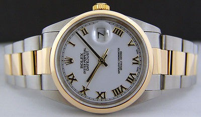 ROLEX - Mens 18kt Gold & SS 36mm DateJust White Roman Dial - 16203 SANT BLANC