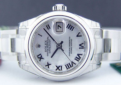 ROLEX Lady - Stainless DateJust White Roman - 179160 SANT BLANC