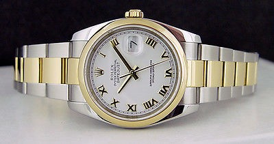 ROLEX - 36mm Men's 18kt Gold & SS DateJust White Roman Dial - 116203 SANT BLANC