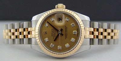 ROLEX - 18kt Gold & SS 26mm Ladies DATEJUST Champagne Diamond 179173 SANT BLANC