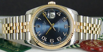 ROLEX - Mens 18kt Gold & SS 36mm DateJust Blue Concentric 116233 SANT BLANC
