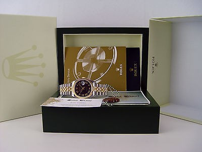 ROLEX - Mens 36mm 18kt Gold & SS DateJust Black Sunbeam Roman 116233 SANT BLANC
