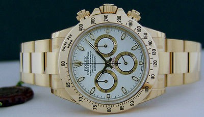 ROLEX - 18kt Gold Mens 40mm Daytona White Index Dial - 116528