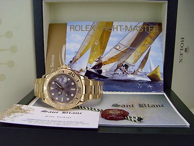 ROLEX - Mens 40mm 18kt Gold YachtMaster Slate Index Dial - 16628 SANT BLANC