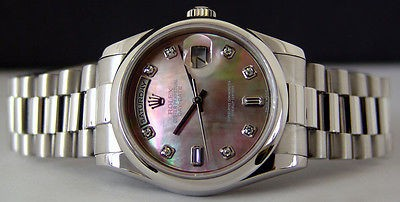 ROLEX - Pure Platinum DayDate President Tahitian Mother Of Pearl Diamond 118206