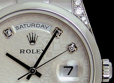 swiss watches rolex mens platinum day date president silver rolex mens platinum day date president silver jubilee diamond 118296