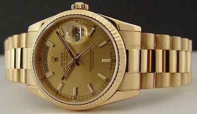 ROLEX - Mens 36mm 18kt Gold Day Date President Champagne Index 118238 SANT BLANC