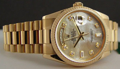 ROLEX - Mens 18kt Gold Day-Date President MOP DIAMOND Dial - 118238 SANT BLANC