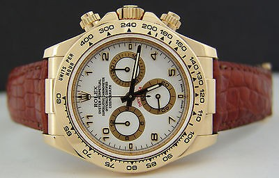 ROLEX - Mens 40mm 18kt Yellow Gold Daytona - White Arabic Dial 116518 SANT BLANC