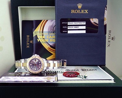ROLEX - Ladies 18kt Gold & Stainless Yacht-Master Slate Dial