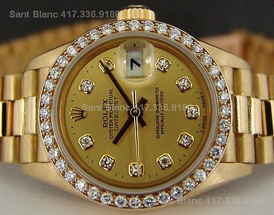 ROLEX - Ladies DIAMOND President Champagne Model 69138 SANT BLANC