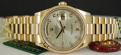 ROLEX - Mens 18kt Gold PRESIDENT Day-Date Silver Diamond Dial -118238 SANT BLANC