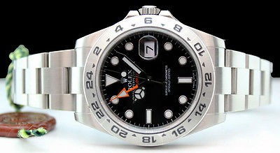 2013 ROLEX Mens 42mm Stainless Explorer II Black Index Dial - 216570