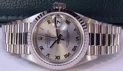 ROLEX AUTHENTIC Ladies White Gold ROMAN President 79179