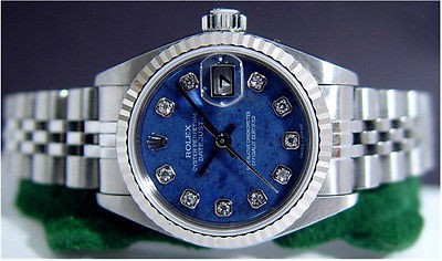 Lady ROLEX White Gold Stainless Steel DateJust SodaLite DIAMOND 79174
