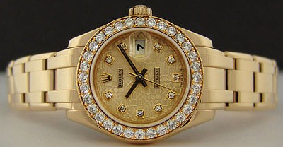ROLEX - Ladies 29mm Gold PearlMaster Champagne JUBILEE Diamond 80298