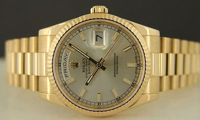 ROLEX - Mens 36mm 18kt Gold Day-Date President Silver Index 118238 SANT BLANC