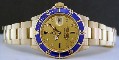 ROLEX - 40mm Submariner 18kt GOLD - Champagne Serti Dial - 16618