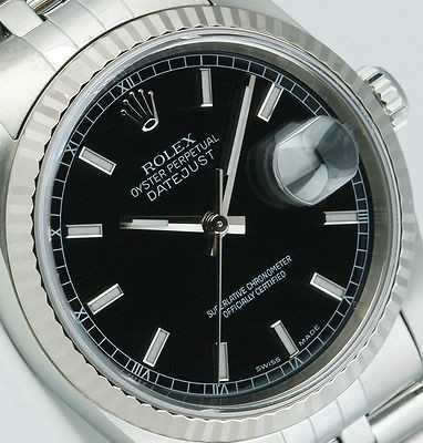 ROLEX - Mens 18kt WG & SS DateJust Black Index Dial - 16234 SANT BLANC