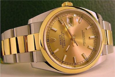 ROLEX - Mens 18kt Gold & SS DateJust Champagne Gold Index Dial 116203 SANT BLANC