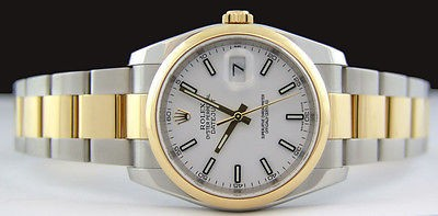 ROLEX - 36mm Mens 18kt Gold & Stainless DateJust White Index - 116203 SANT BLANC