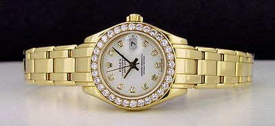 ROLEX - 29mm Gold Ladies PearlMaster Masterpiece White Diamond 69298 SANT BLANC