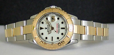 ROLEX Ladies 29mm 18kt Gold & Stainless Yacht-Master White Dial 169623