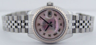 Rolex Ladies 18kt White Gold Stainless Steel Datejust Pink Deco Mother of Pearl Roman 179174