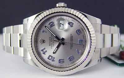 ROLEX Mens 41mm 18kt White Gold & SS DateJust II Silver Arabic 116334 SANT BLANC