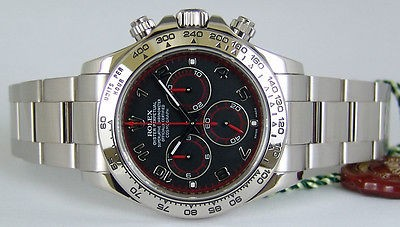 ROLEX - 18kt White Gold DAYTONA Black-Red Dial 116509 SANT BLANC