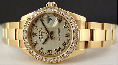 ROLEX - Ladies 26mm 18kt Gold PRESIDENT White Pyramid Roman 179138 SANT BLANC