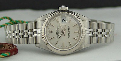 ROLEX - Ladies 26mm 18kt WG & SS Datejust Silver Stick Dial - 79174 SANT BLANC