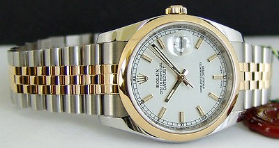ROLEX - Men's 36mm 18kt Gold & Stainless Steel WHITE Bold Index DateJust 116203