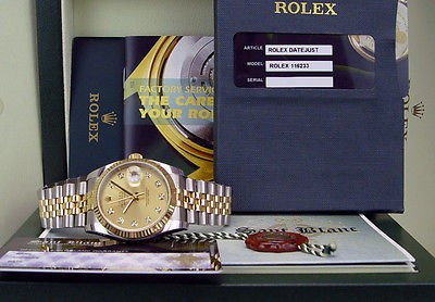 ROLEX - DateJust 18kt Gold & Stainless Mens 36mm Champagne Diamond Dial - 116233