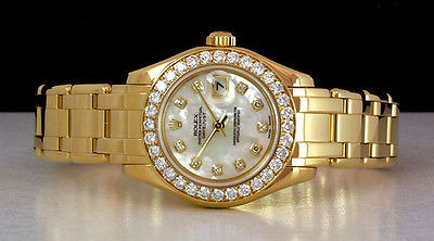 ROLEX Lady 29mm Yellow Gold PearlMaster Masterpiece MOP Diamond 80298