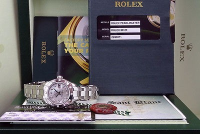 ROLEX - MASTERPIECE Ladies 18kt White Gold White Mother of Pearl Diamond 80319
