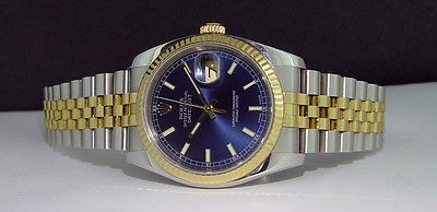 ROLEX - Mens 18kt Gold & SS Date-Just Blue Index Dial - 116233 SANT BLANC