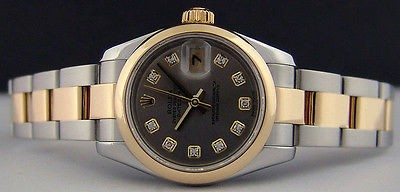 ROLEX - Ladies 18kt Gold & Stainless Steel 26mm DateJust Slate Diamond Dial 179163