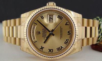 NEVER WORN ROLEX 36mm Mens 18kt Gold President Champagne Roman 118238 SANT BLANC