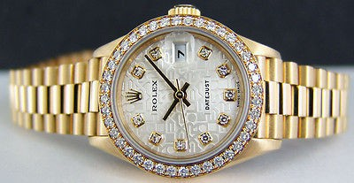 ROLEX - Ladies 18kt Gold Datejust President Silver JUBILEE Dial 69178 SANT BLANC