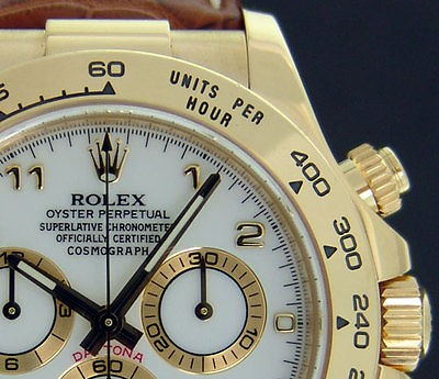 ROLEX - Mens 40mm Daytona 18kt Yellow Gold - White Arabic Dial 116518 SANT BLANC