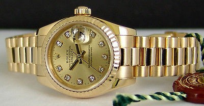 ROLEX - 26mm Ladies 18kt Gold PRESIDENT Champagne Diamond Dial 179178 SANT BLANC