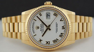 ROLEX Mens 36mm 18kt Yellow Gold DayDate PRESIDENT White Roman 118238 SANT BLANC