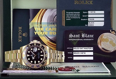ROLEX 18kt Gold GMT Master II Black CERAMIC 116718 W/BOX Card Books SANT BLANC