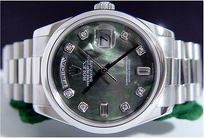 ROLEX - Men's DIAMOND Mother Of Pearl PLATINUM President Day Date 36mm - 118206