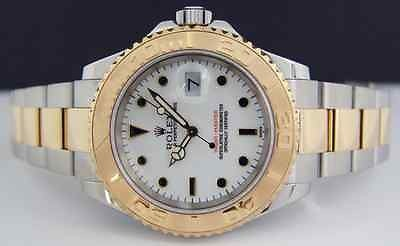 ROLEX - Mens 40mm 18kt Gold & Stainless YachtMaster White Index 16623 SANT BLANC